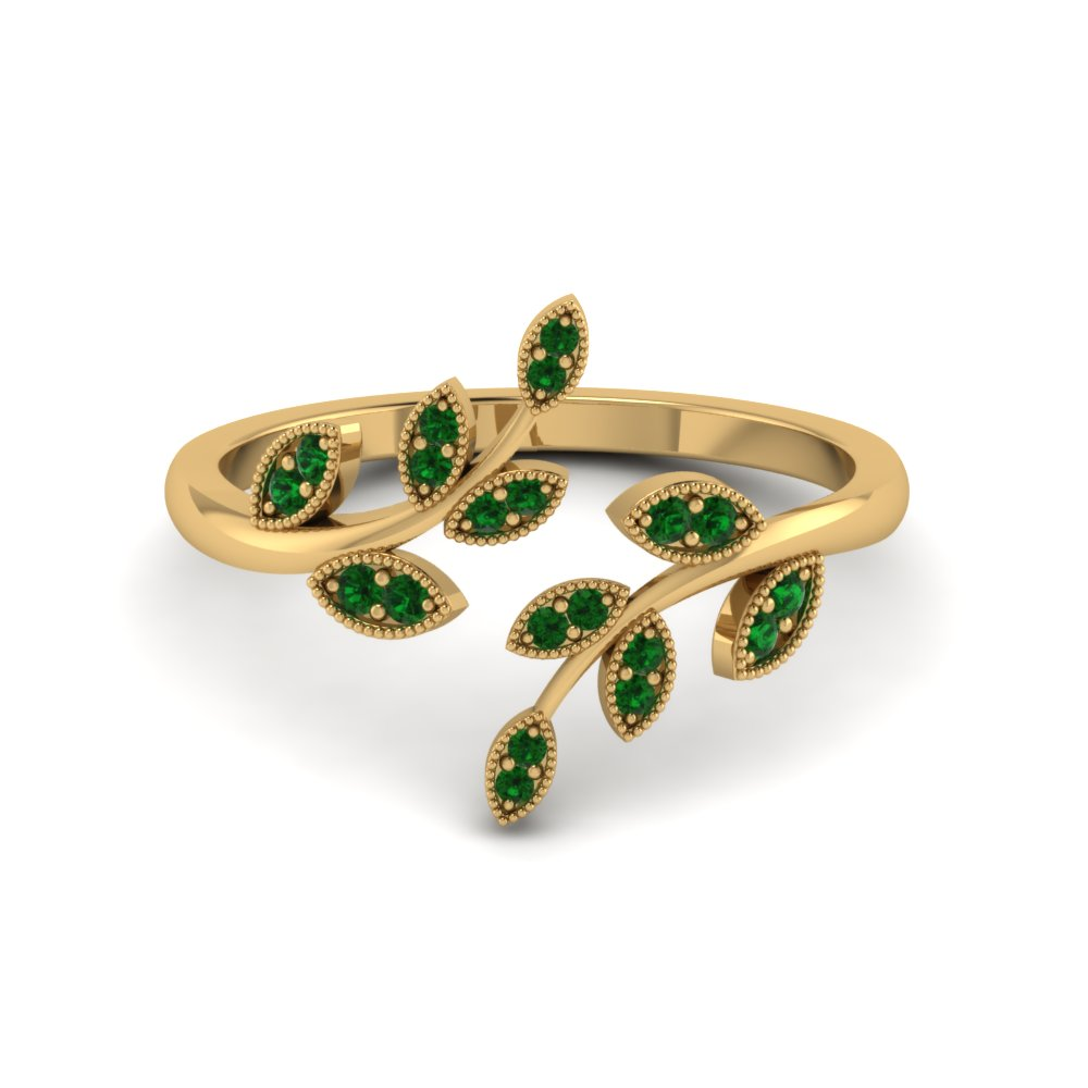 open leaf emerald engagement ring in FD8342GEMGR NL YG GS