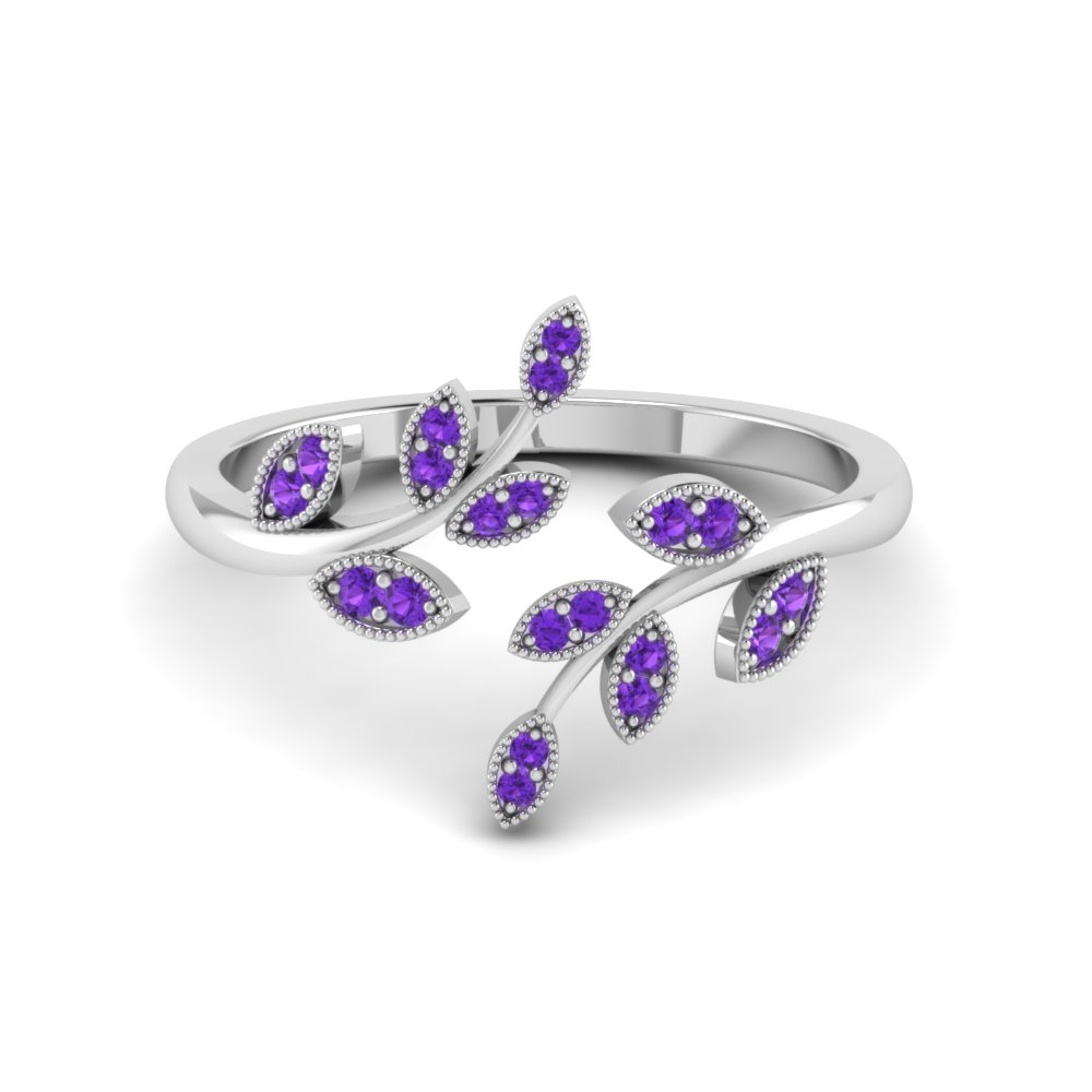 Open Leaf Purple Topaz Ring