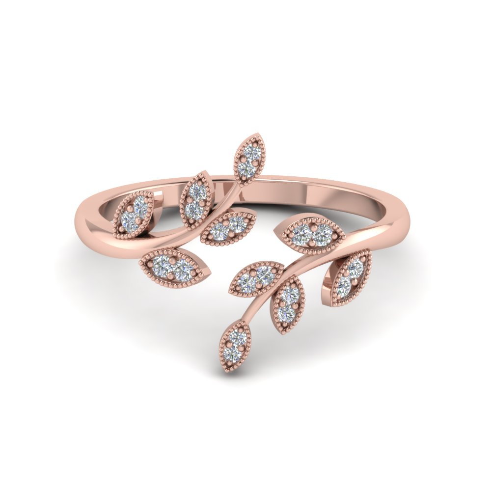 Rose Gold Wedding Ring.Open Leaf Ring