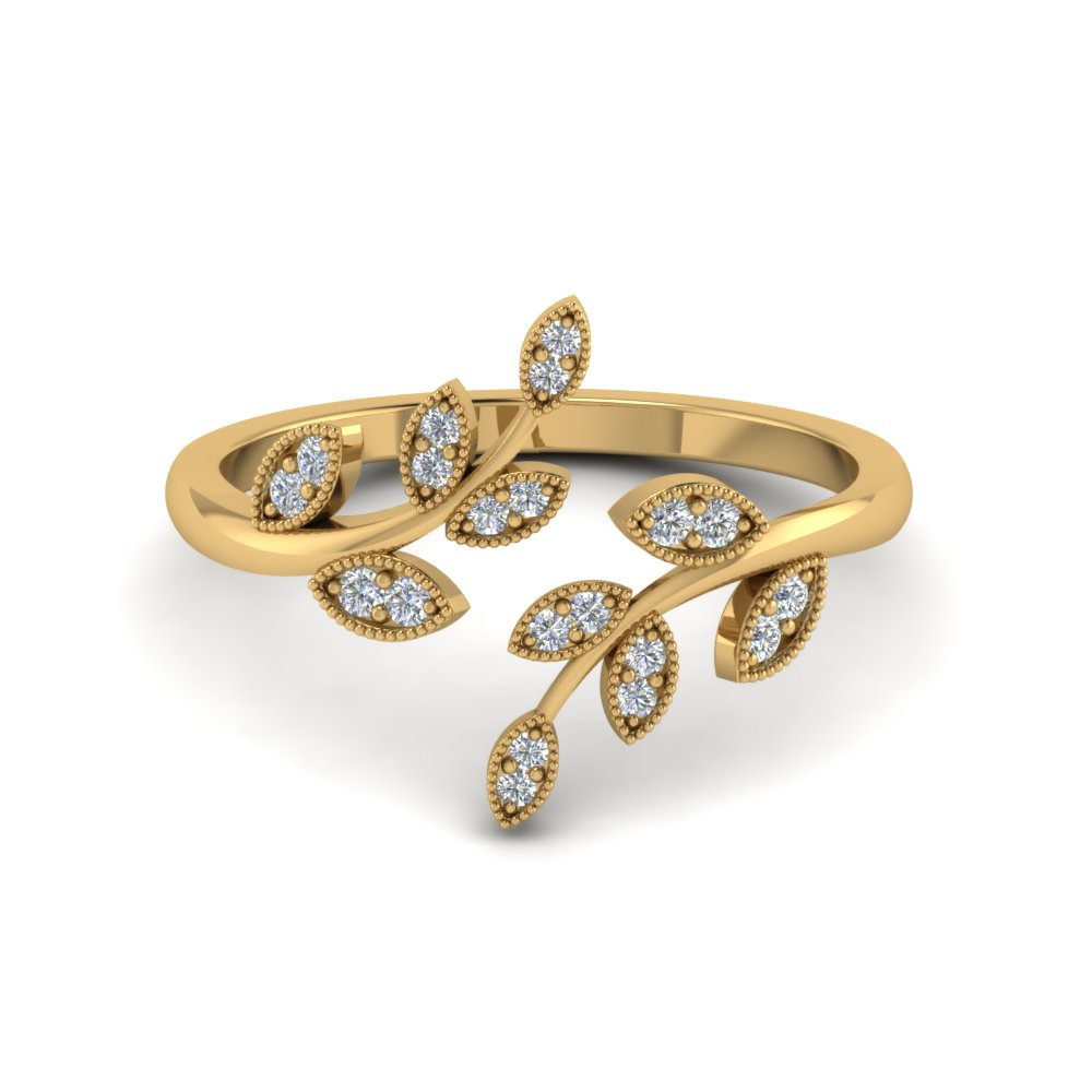 Open Leaf Diamond Wedding Ring