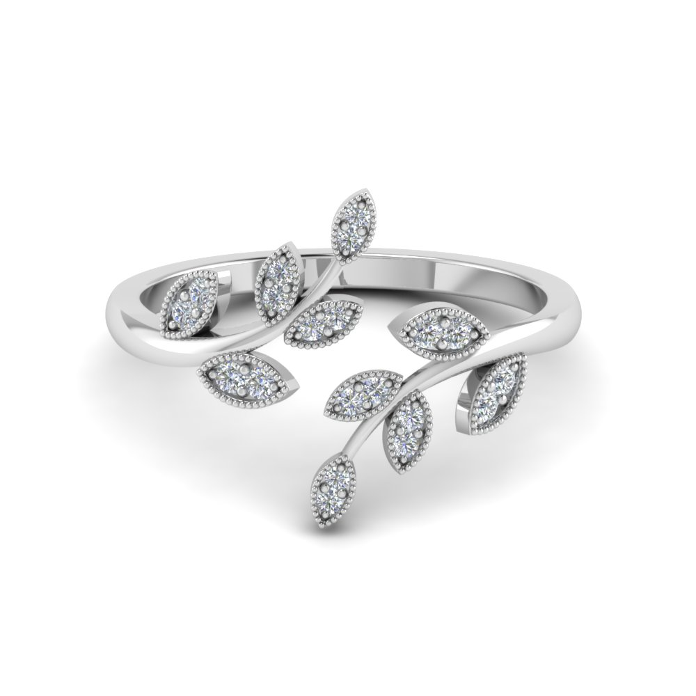 open leaf fashion diamond engagement ring in FD8342 NL WG