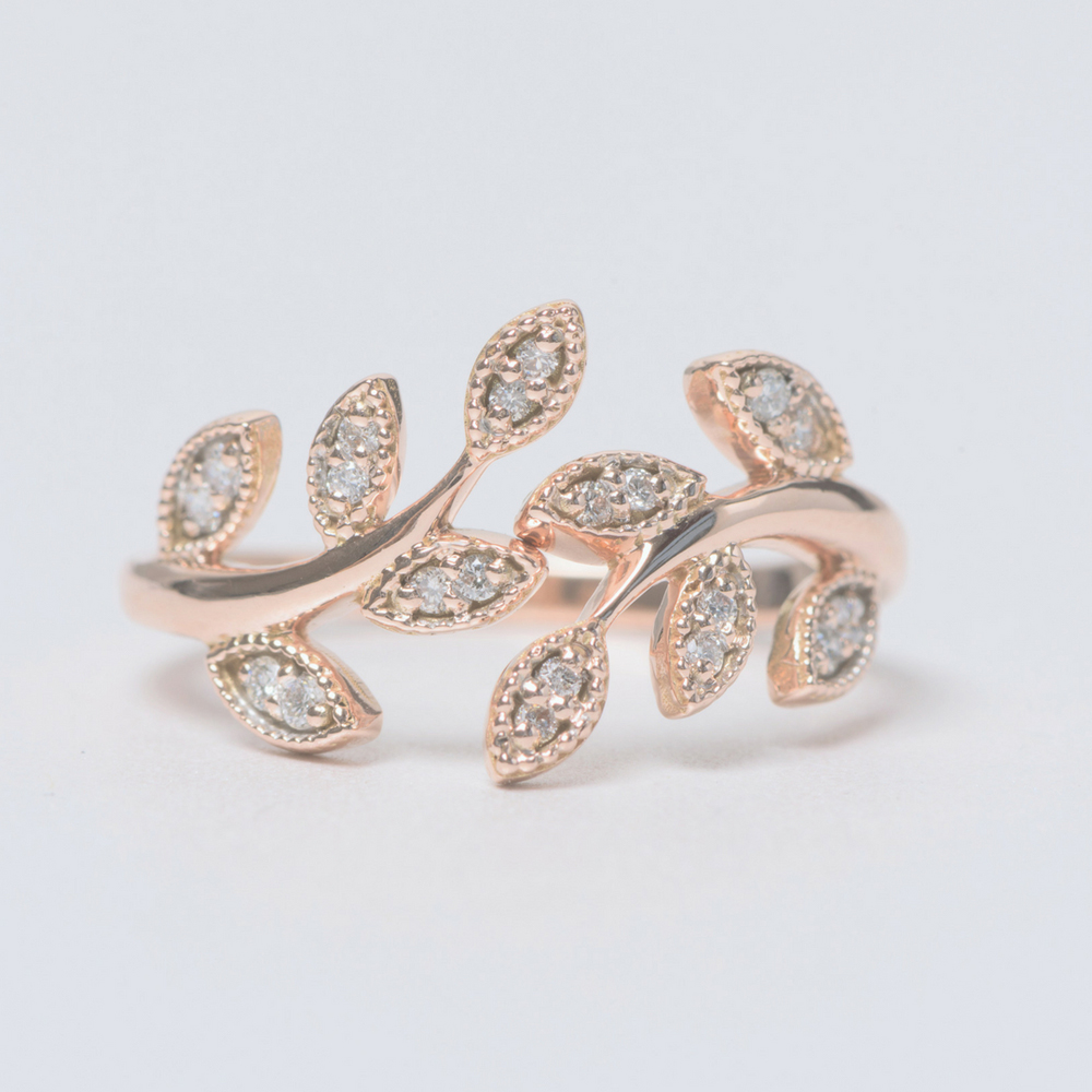 open leaf fashion diamond engagement ring in 14K rose gold FD8342ANGLE3 NL RG