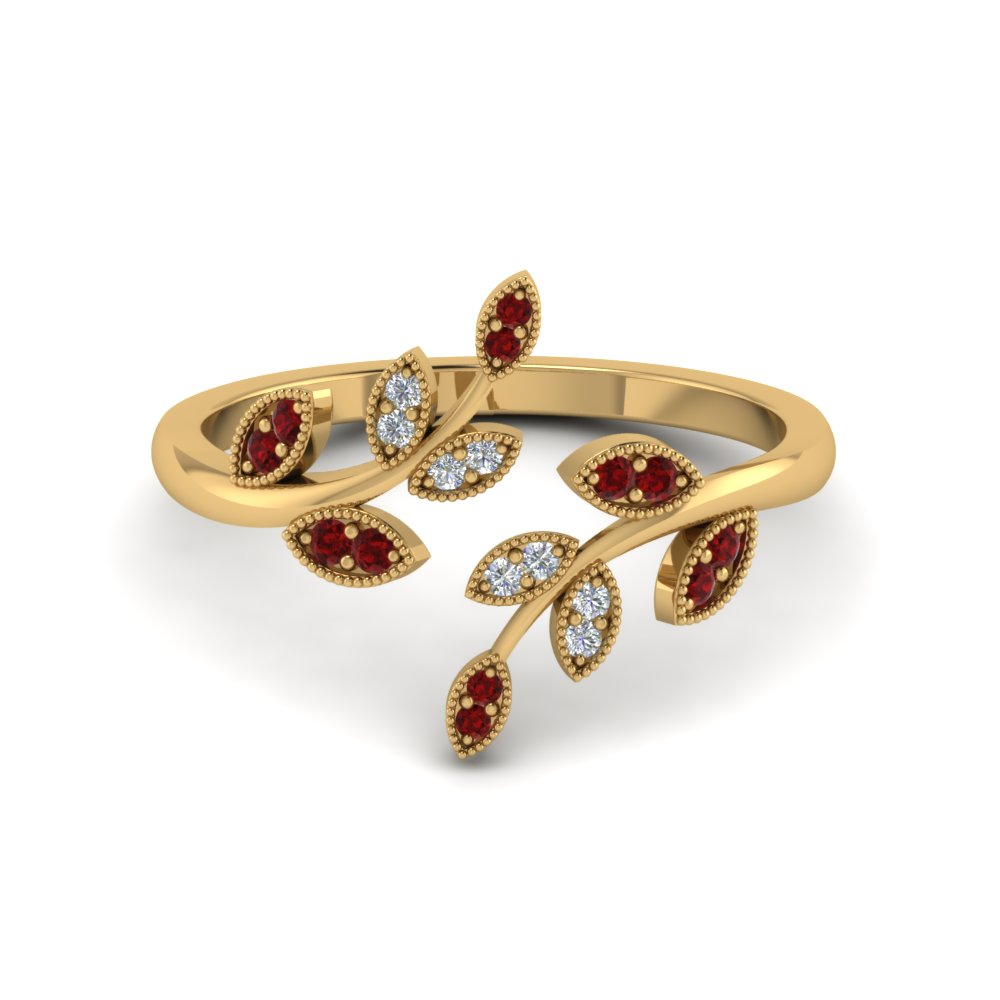 open leaf fashion diamond engagement ring with ruby in 14K yellow gold FD8342GRUDR NL YG