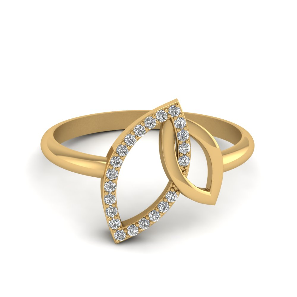 Interlock Leaf Diamond Open Marquise Ring