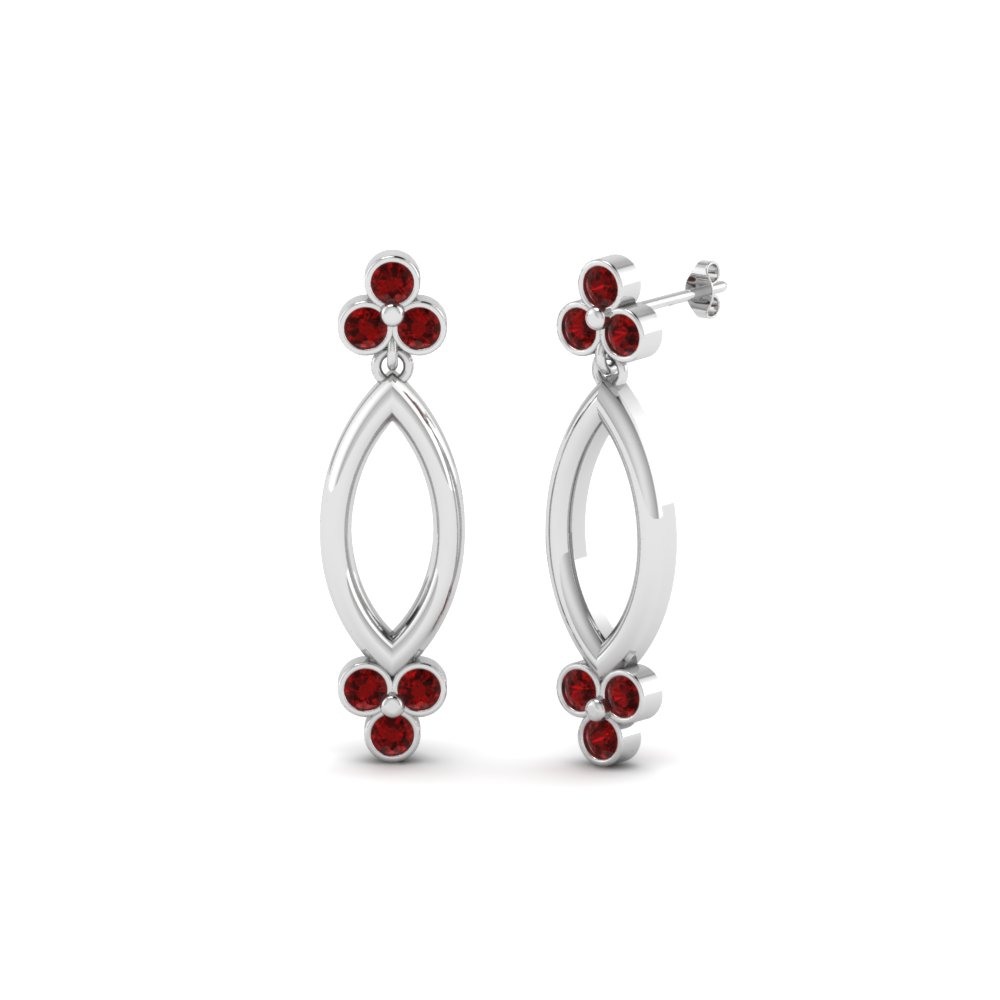 Open Marquise Ruby Stud Earring