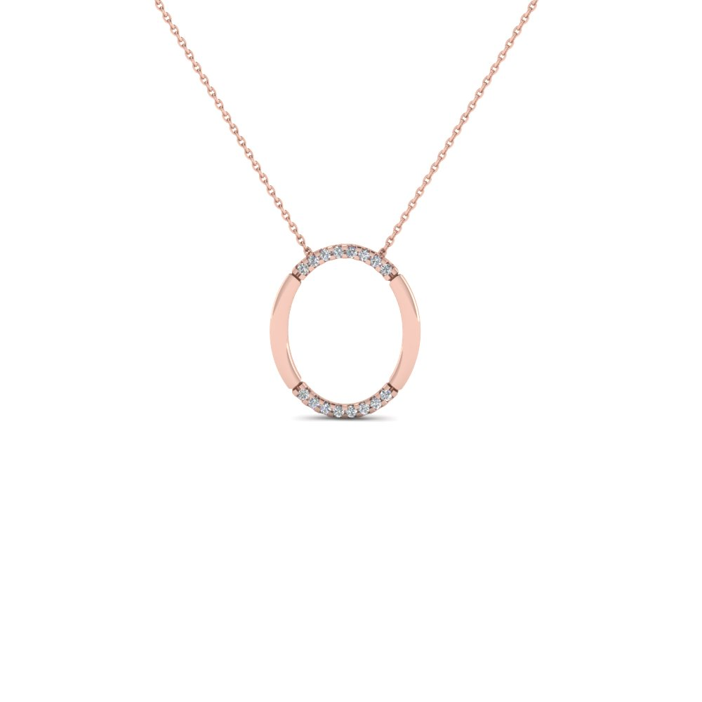 open oval diamond pendant nekclace anniversary gifts in 14K rose gold FDPD1851 NL RG GS