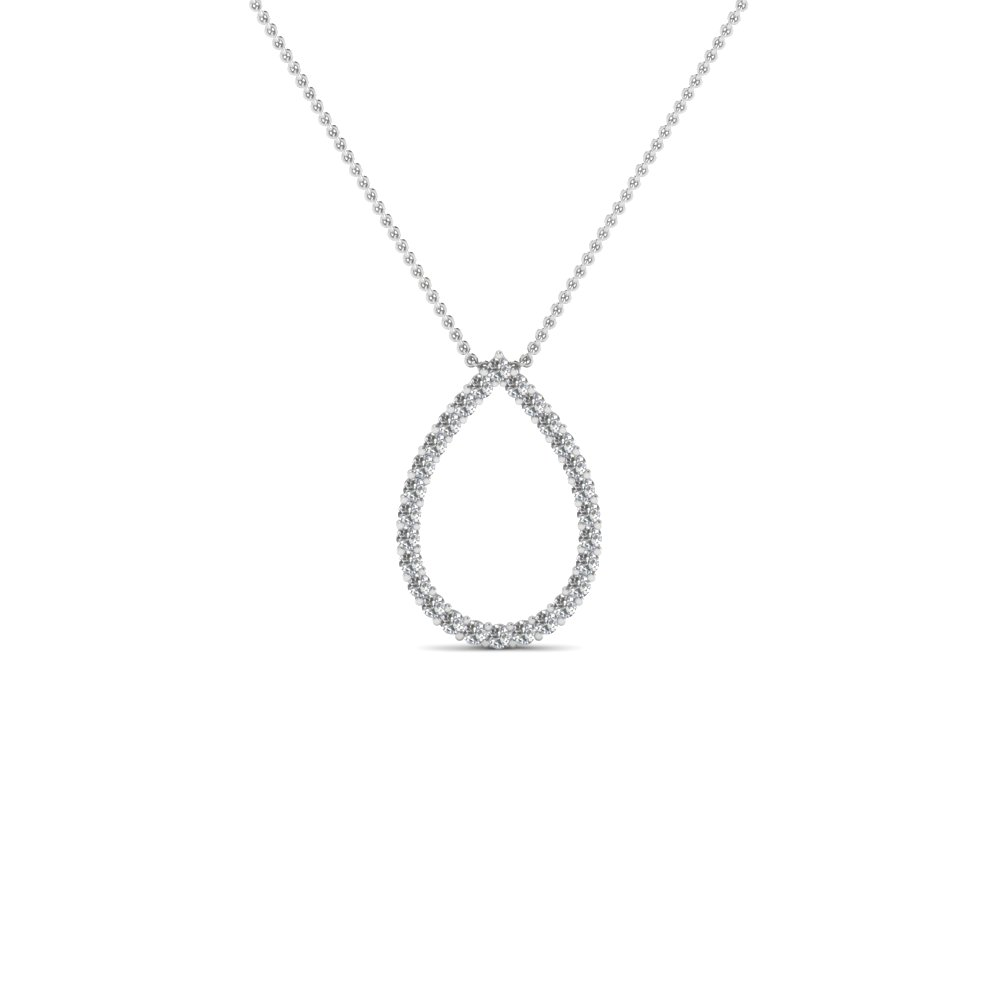 open oval shaped diamond pendant for women in FDPD1272 NL WG