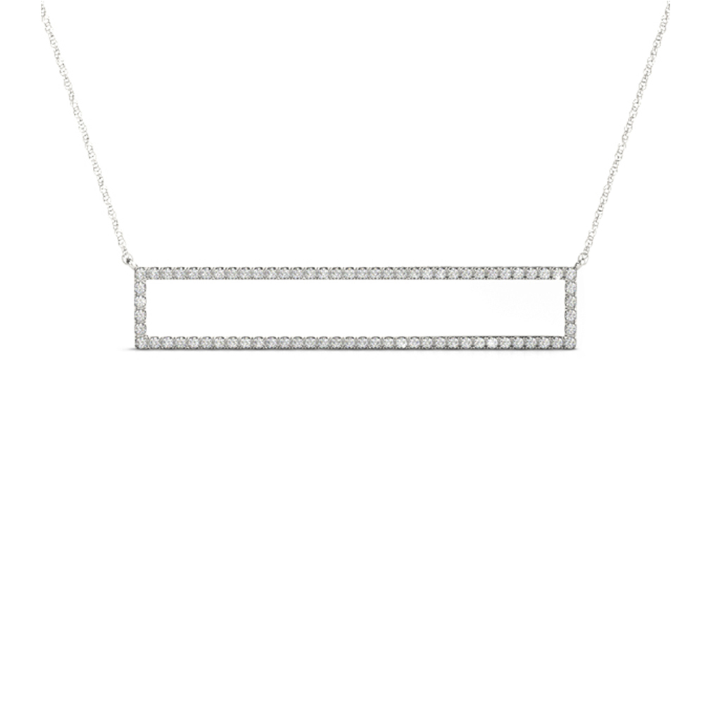 Open Rectangle Diamond Necklace