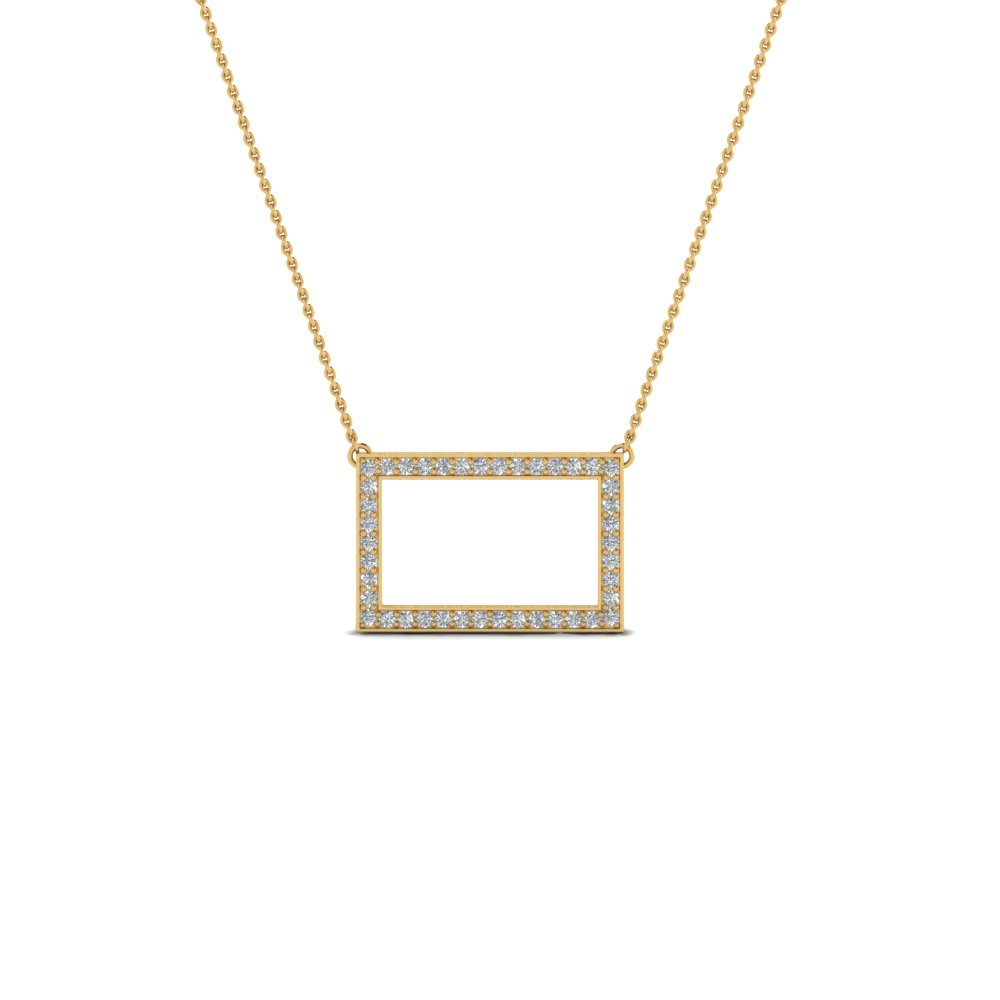 Pave Diamond Open Rectangle Necklace