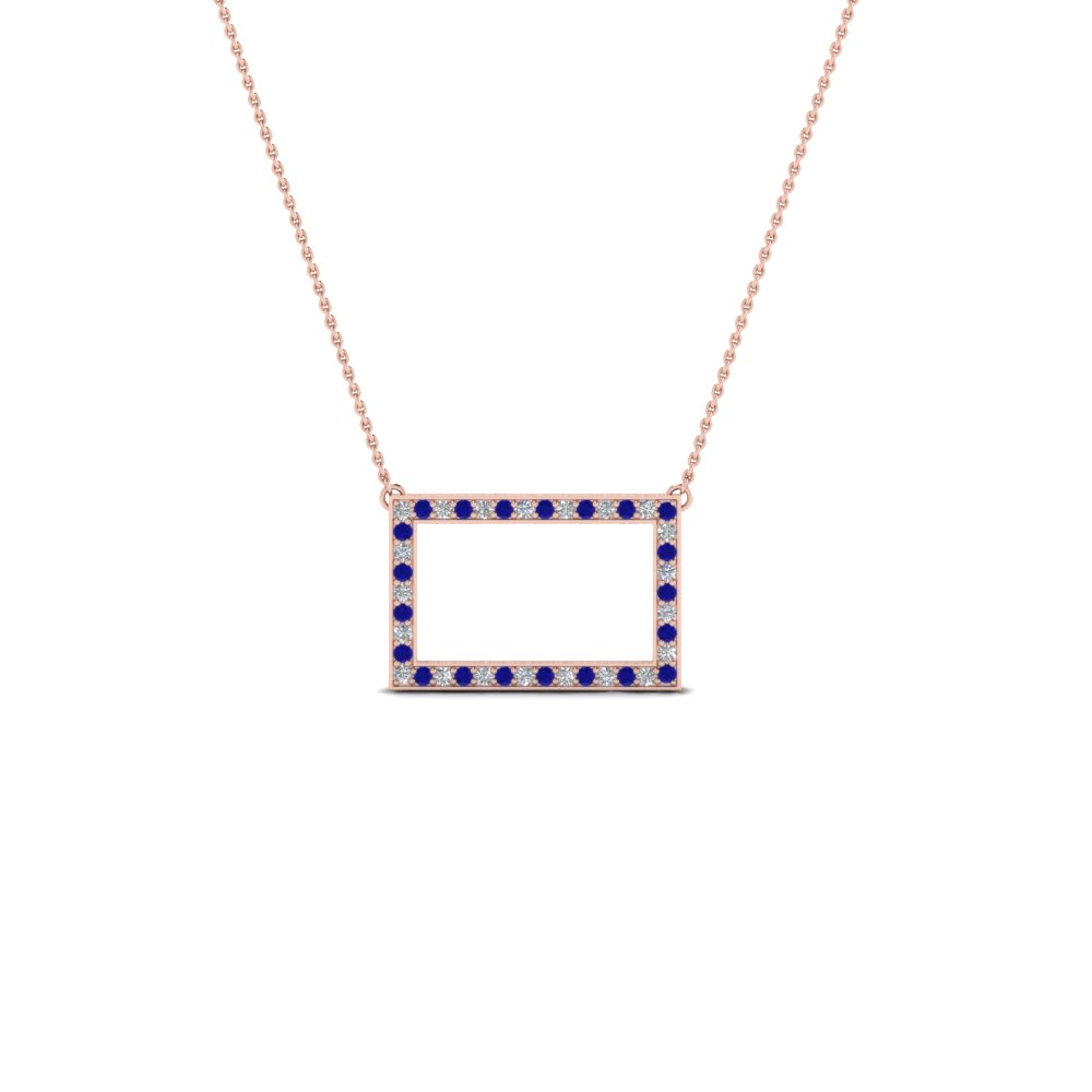 open rectangle pave diamond pendant with blue sapphire in FDPD8093GSABL NL RG
