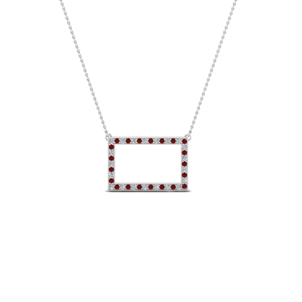 open rectangle pave diamond pendant with ruby in FDPD8093GRUDR NL WG