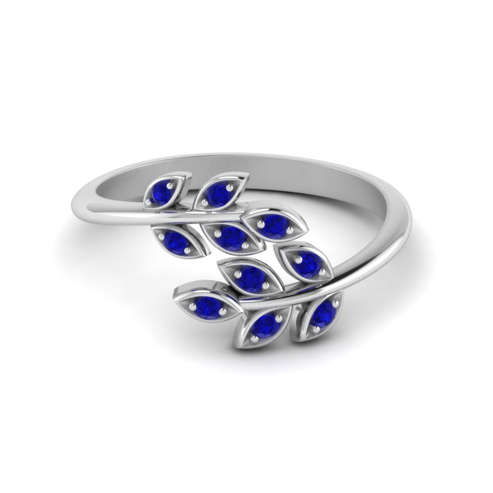 Sapphire Ring With Leaf Design