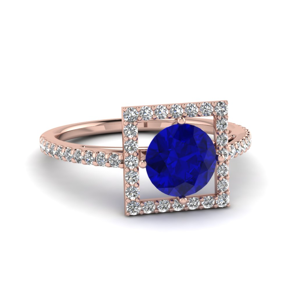 Open Square Diamond And Sapphire Shank Engagement Ring in Rose Gold
