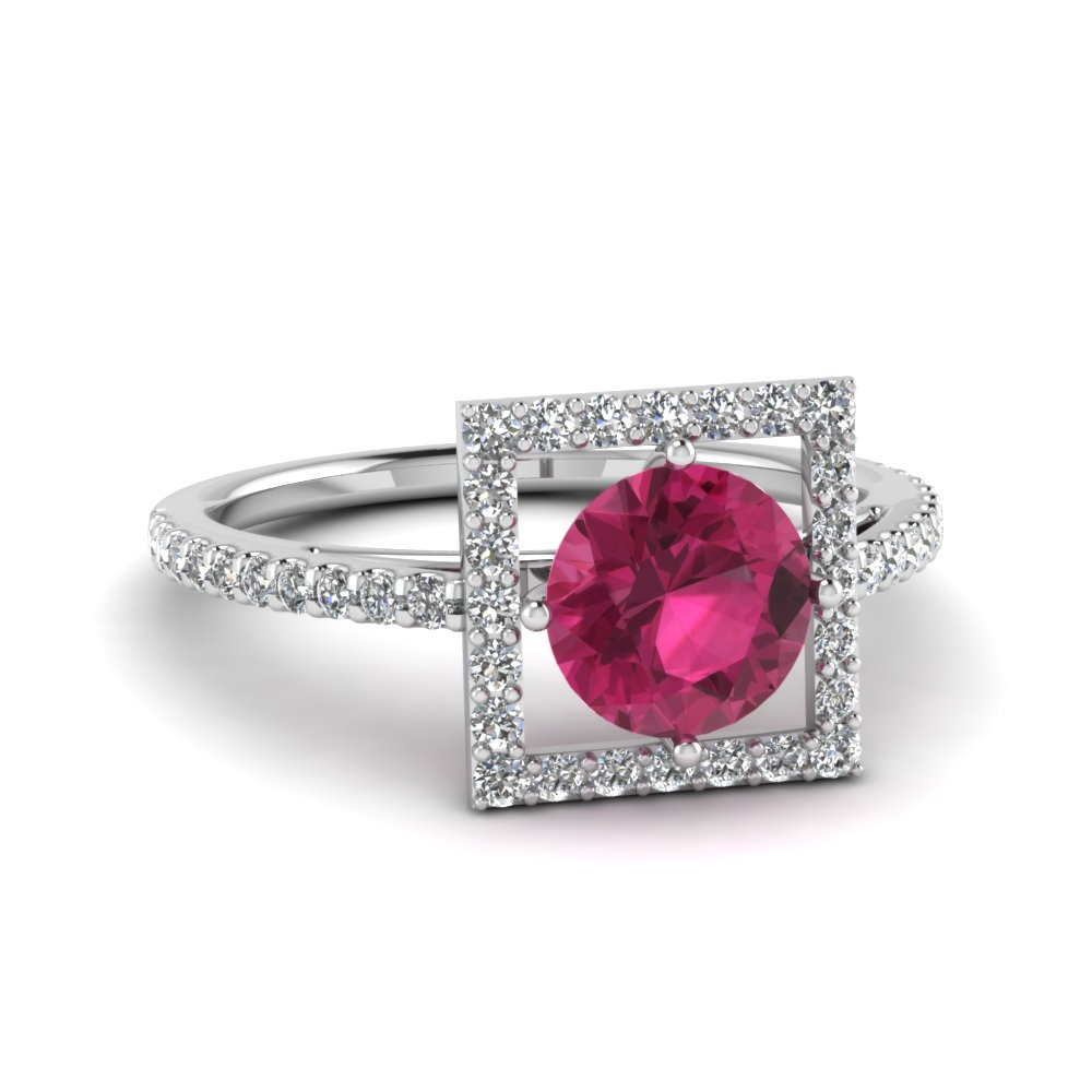 open square pink sapphire engagement shank ring in FD121864RORGPS NL WG