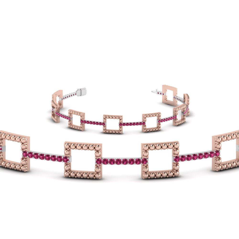 open square milgrain two tone bracelet with pink sapphire in 14K rose gold FDOBR70335GSADRPIANGLE2 NL RG GS