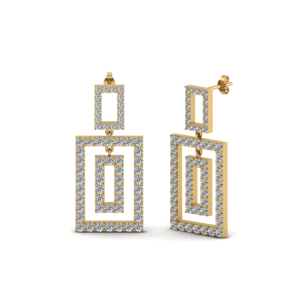 Gold Round Diamond Drop Earrings