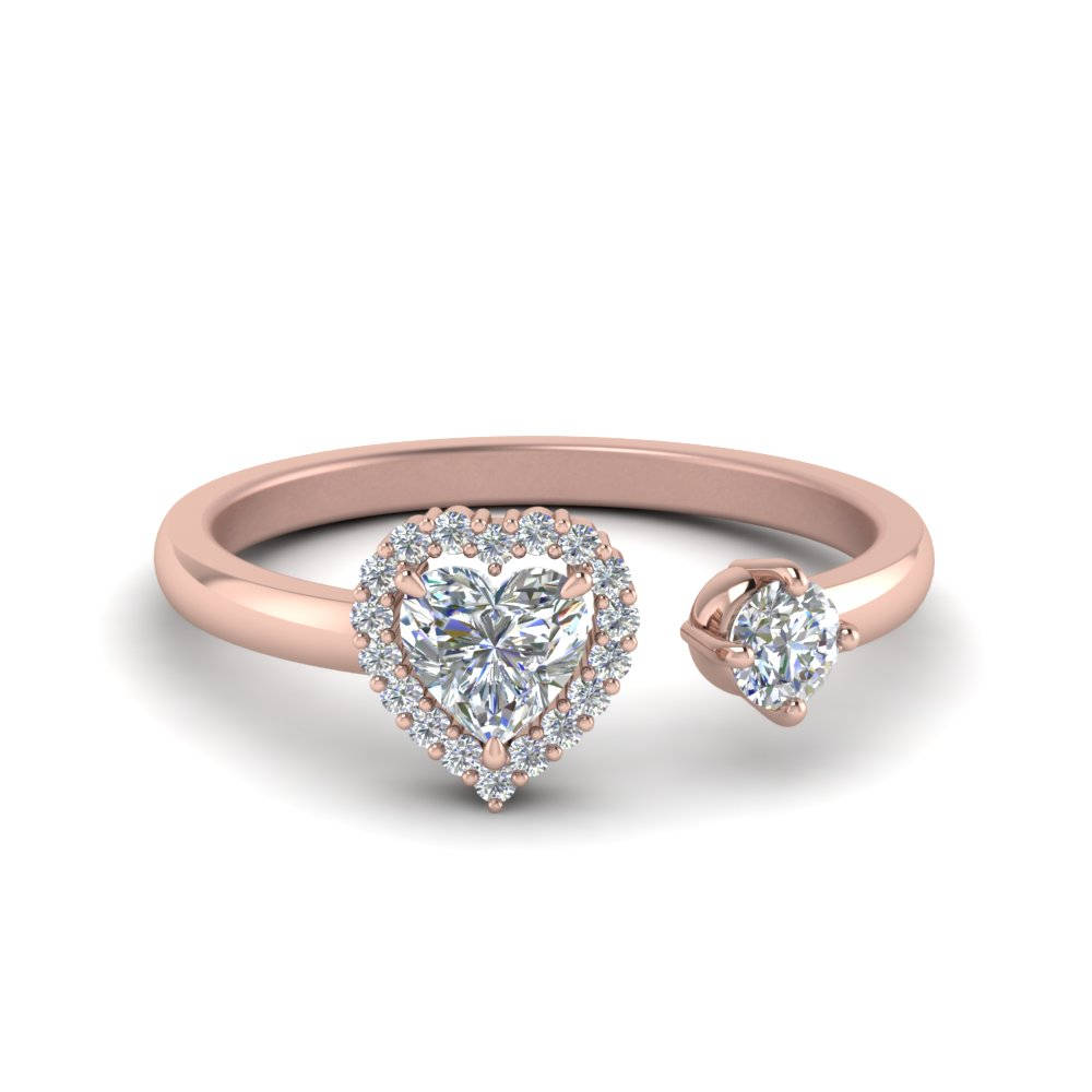 Open Wrap Heart Diamond Engagement Ring In 14K Rose Gold