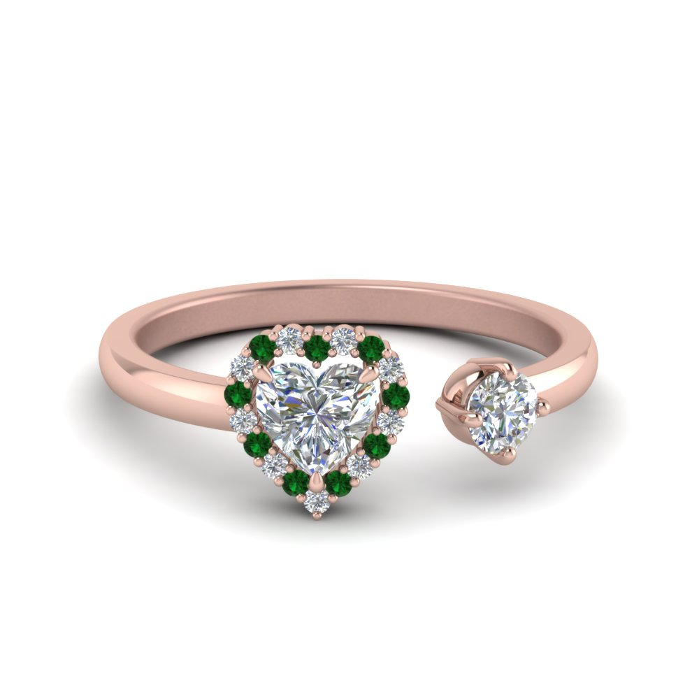 open wrap heart diamond engagement ring with emerald in 14K rose gold FD71903HTRGEMGR NL RG