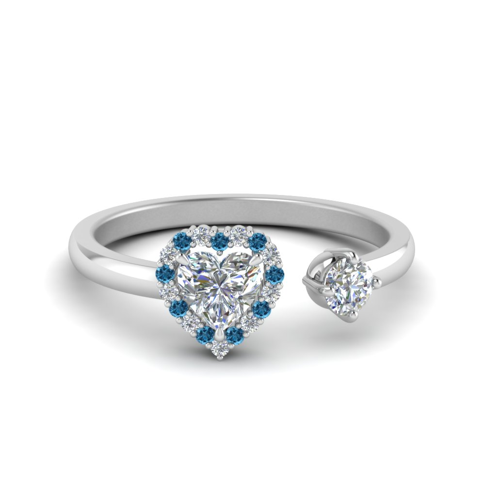 open wrap heart diamond engagement ring with blue topaz in 950 platinum FD71903HTRGICBLTO NL WG