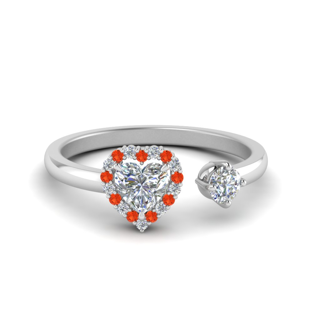 open wrap heart diamond engagement ring with orange topaz in 14K white gold FD71903HTRGPOTO NL WG