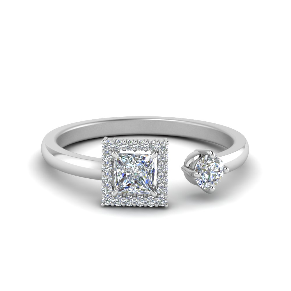 Open Halo Princess Cut Diamond Ring