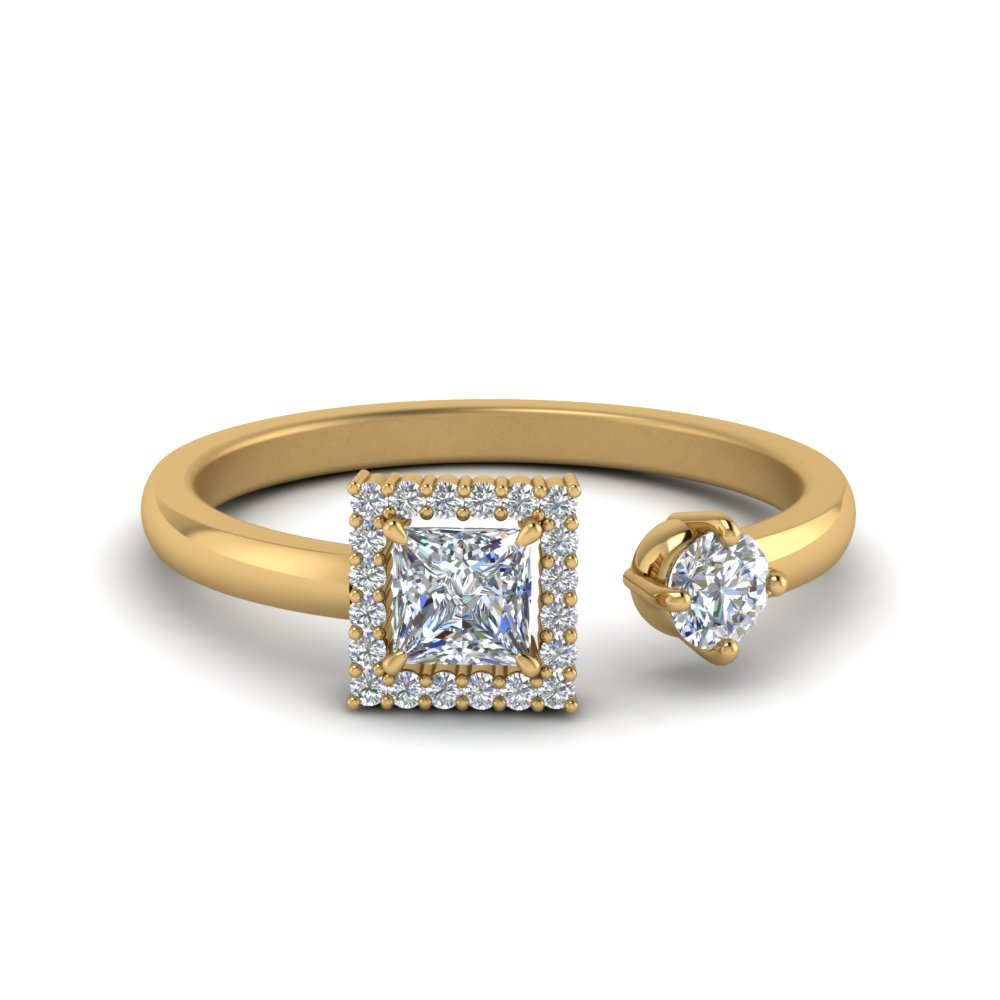 Open Wrap Princess Cut Diamond Engagement Ring In 14K Yellow Gold