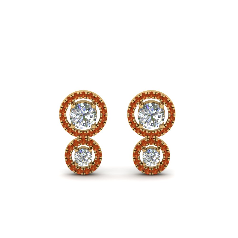 orange sapphire dual halo diamond stud earring in 14K yellow gold FDEAR8974GSAORANGLE1 NL YG