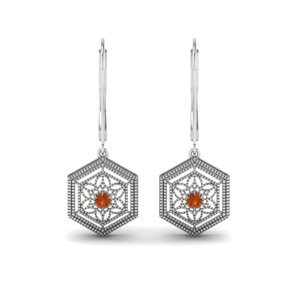 orange sapphire floral leverback dangle earring in FDEAR650209GSAOR NL WG