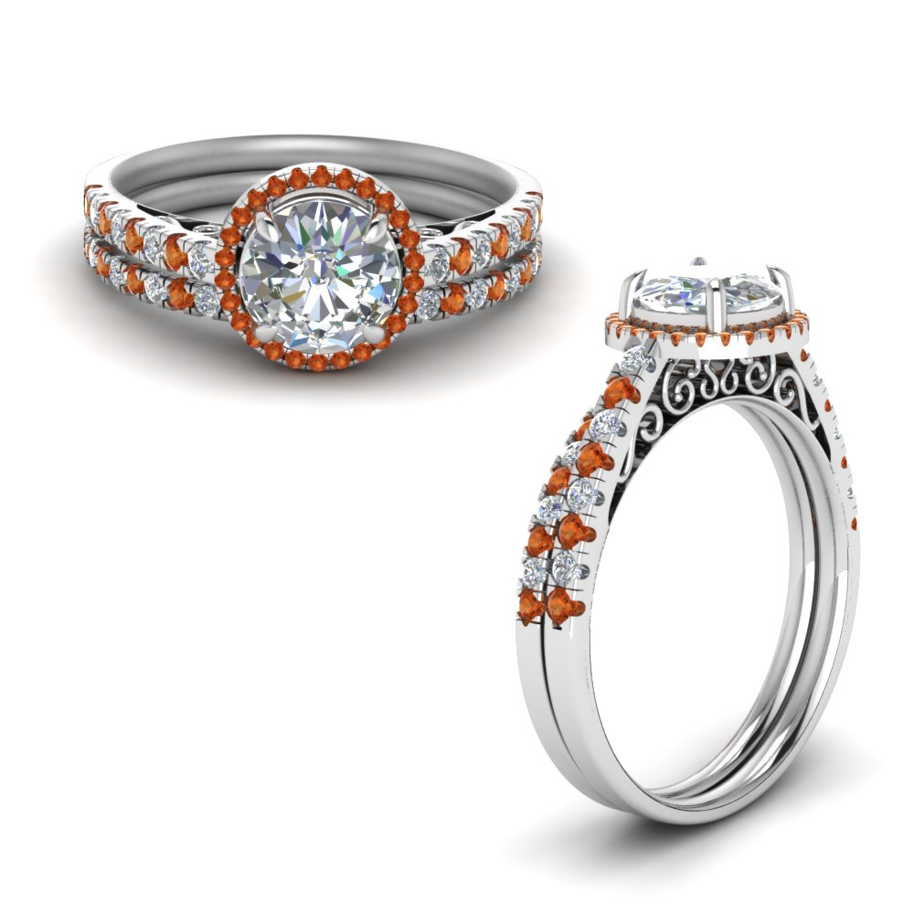 orange sapphire pave halo diamond vintage bridal set in FD8592ROGSAORANGLE1 NL WG