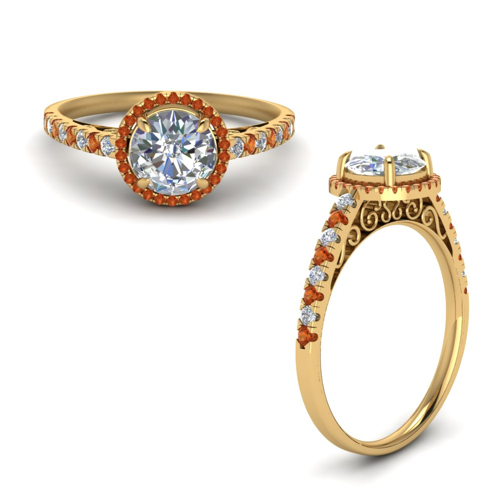 orange sapphire pave halo diamond vintage engagement ring in FD8592RORGSAORANGLE1 NL YG