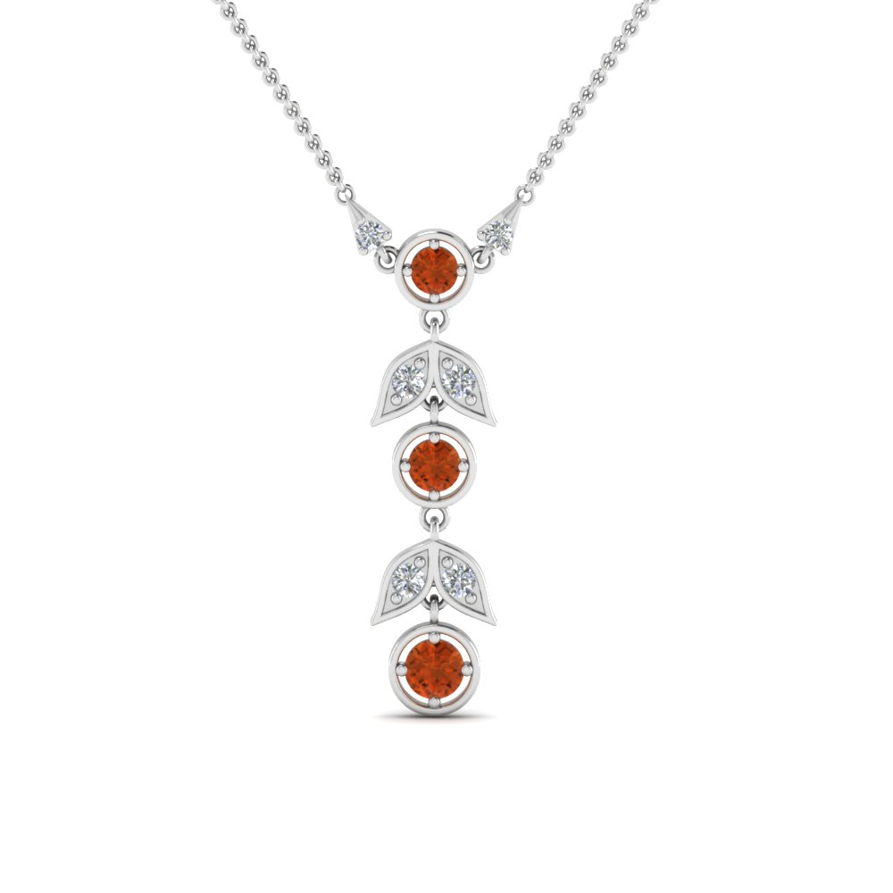 Orange Sapphire Petal Drop Necklace