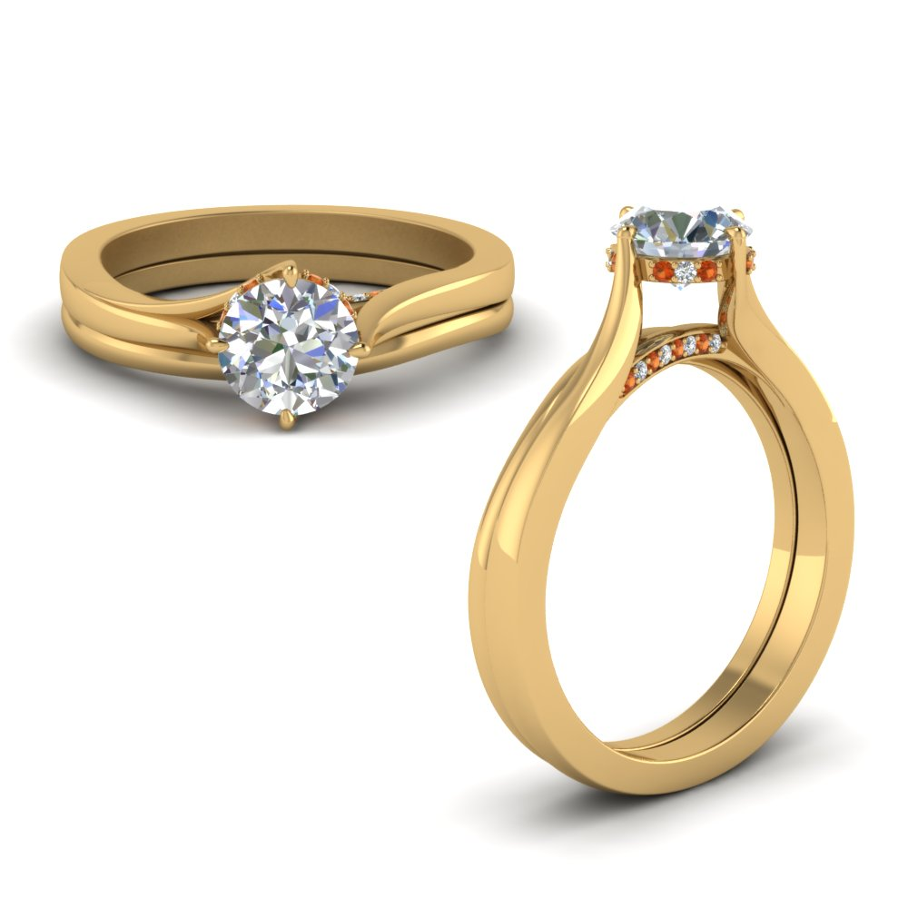 Orange Sapphire Solitaire Ring Set