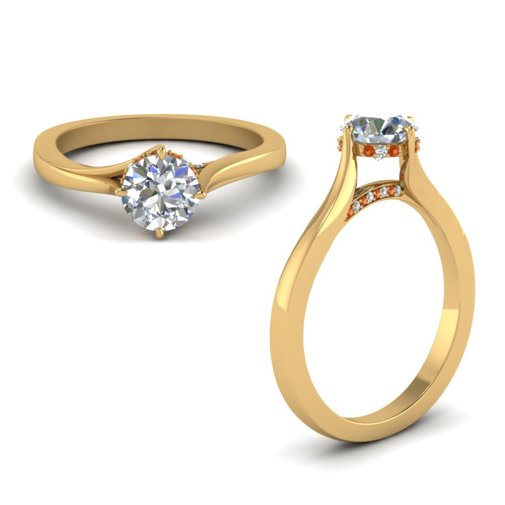 Orange Sapphire Swirl Prong Round Diamond Ring In 14K Yellow Gold