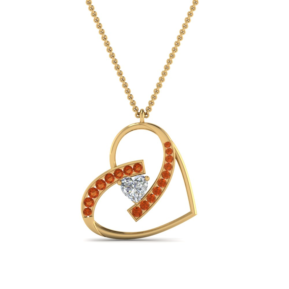 Gemstone With Heart Diamond Pendant