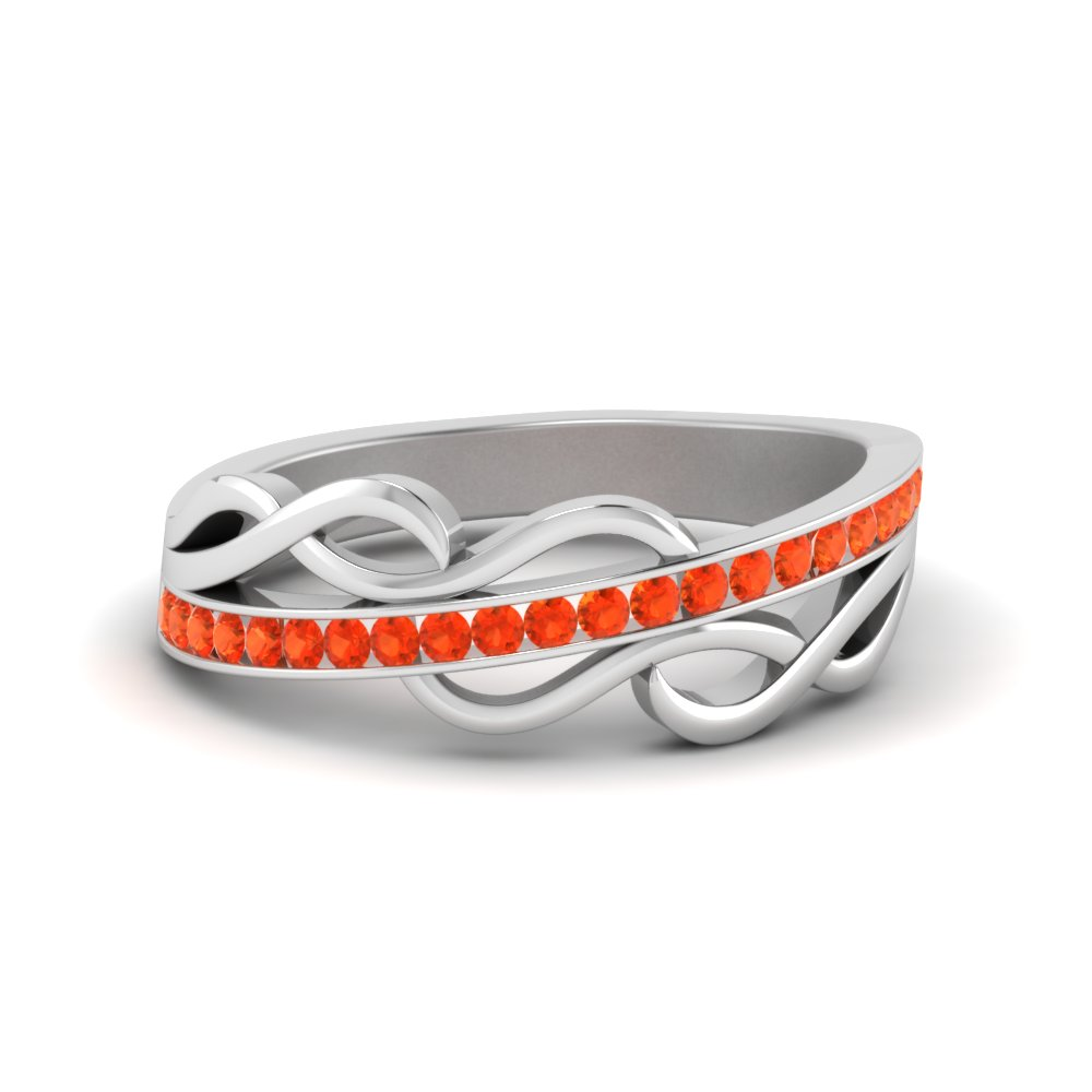 orange topaz channel twisted wedding band in 14K white gold FD8617BGPOTO NL WG