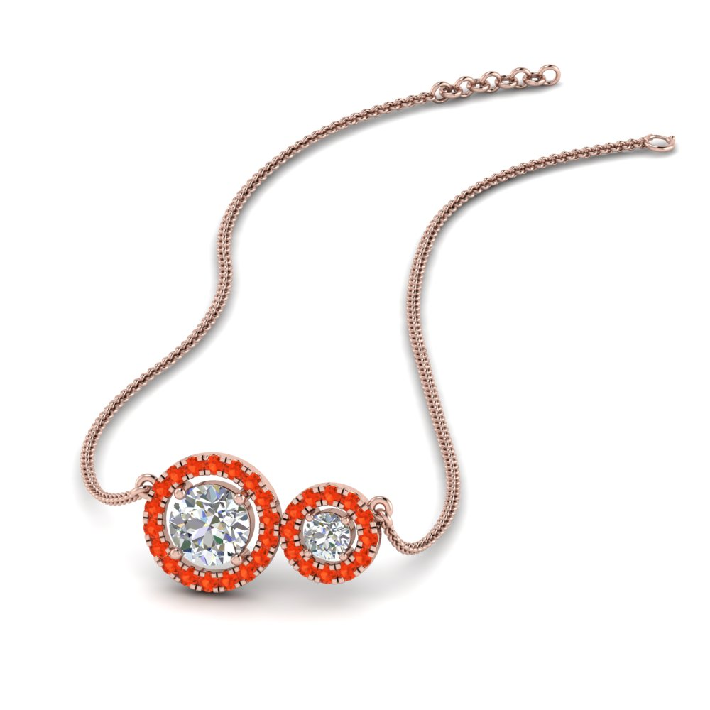 Orange Topaz Dual Halo Pendant