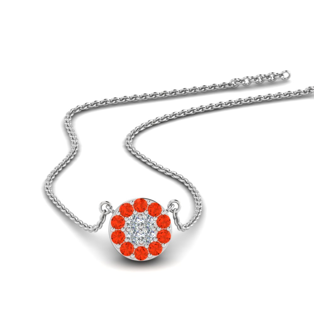 Diamond Cluster Orange Topaz Pendant