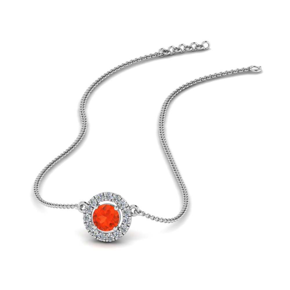 0.30 Ct. Orange Topaz Halo Necklace