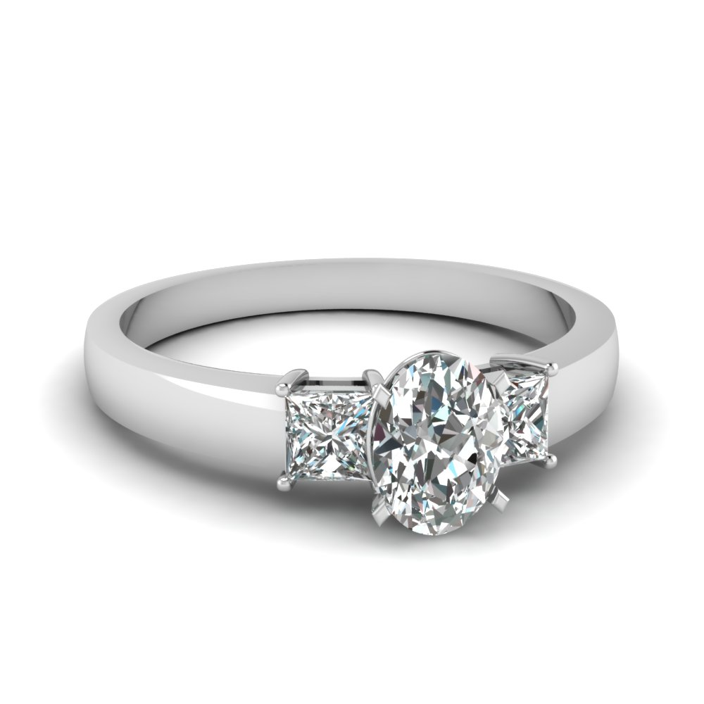 1 Carat Diamond Oval 3 Stone Engagement Ring In 14k White Gold