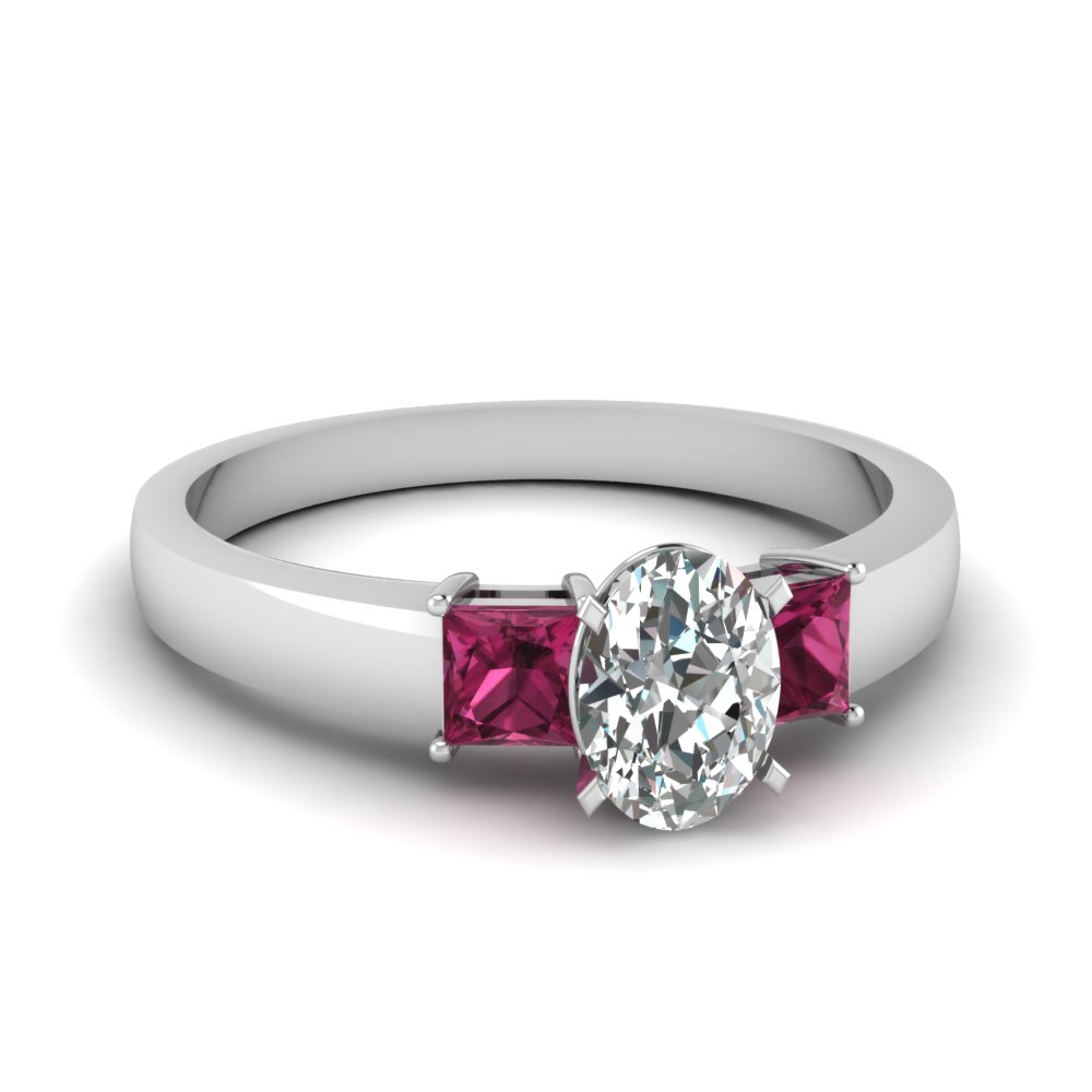 1 carat diamond oval 3 stone engagement ring with pink sapphire in FDENS1024OVRGSADRPI NL WG