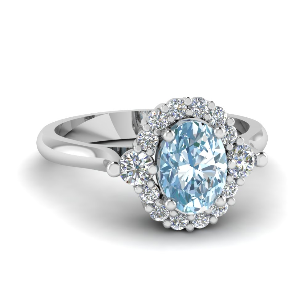 Oval Aquamarine Halo Diamond Colored Engagement Ring In 14K White Gold