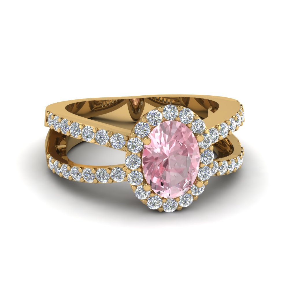 Colored Engagement Rings With Pink Morganite In 14k Yellow Gold