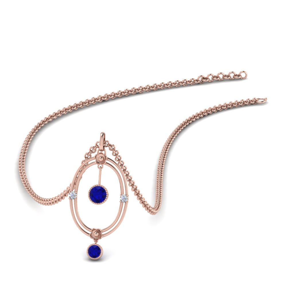 Oval Design Pendant With Sapphire