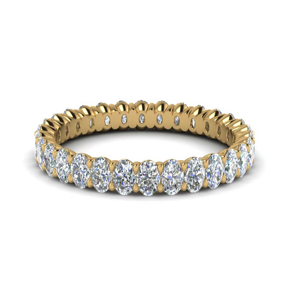 Oval Diamond Eternity Band Yellow Gold