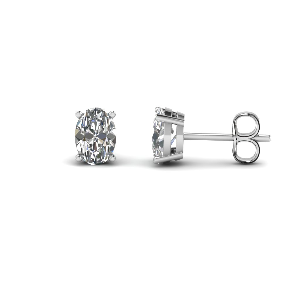 Oval Diamond Stud Earring 2 Carat