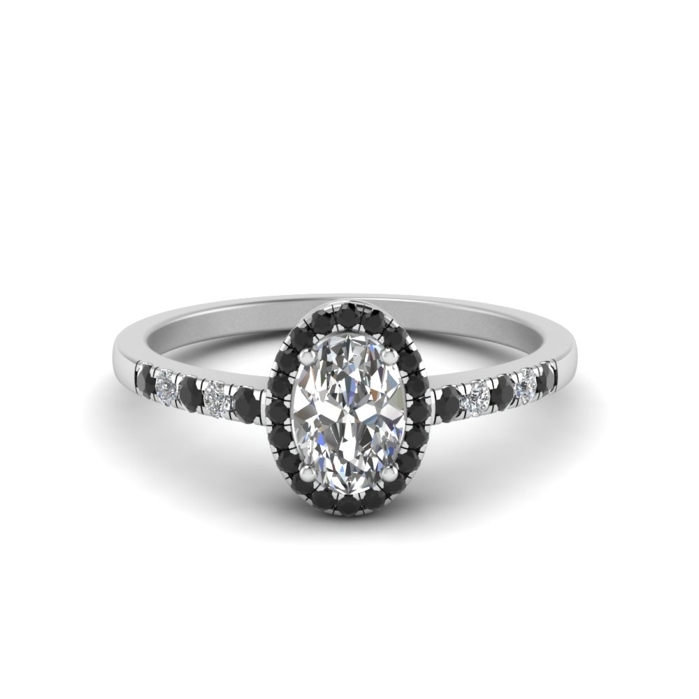 oval halo delicate engagement ring with black diamond in FDENR495OVRGBLACK NL WG