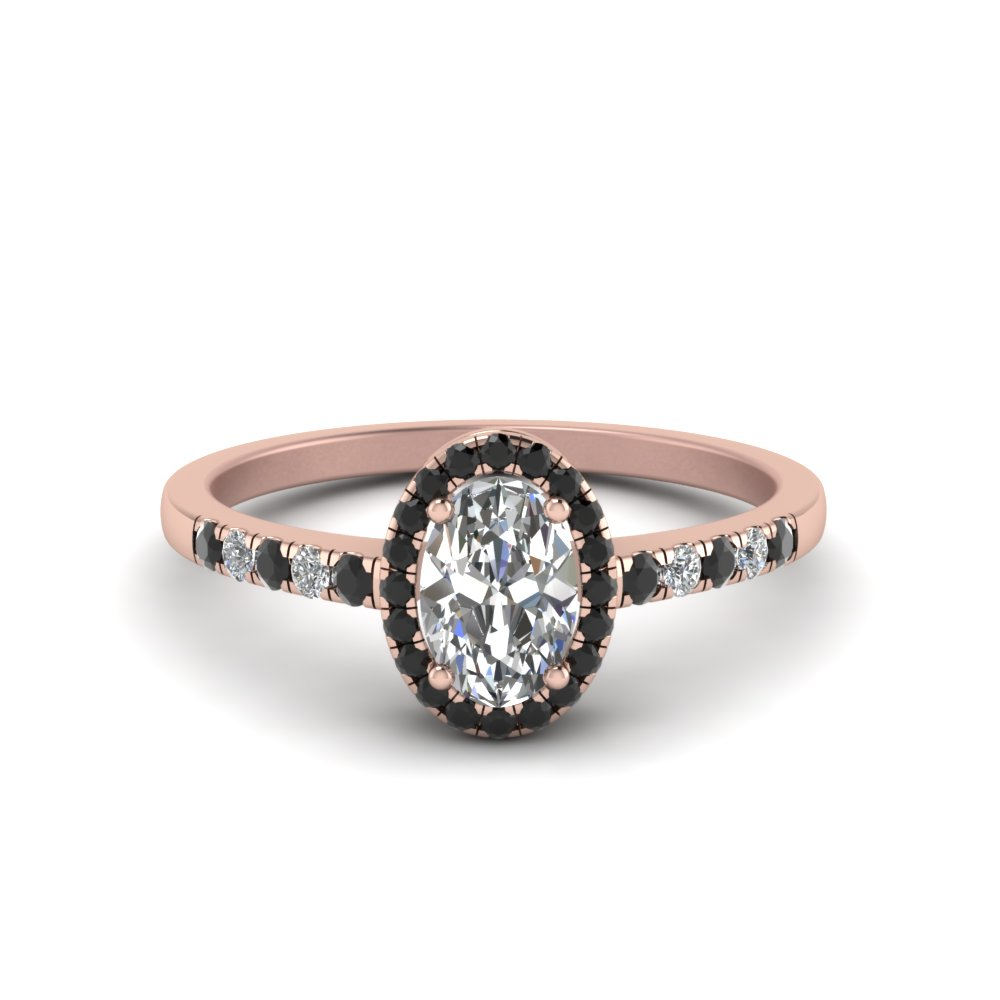 18K Rose Gold Black Diamond Halo Engagement Rings