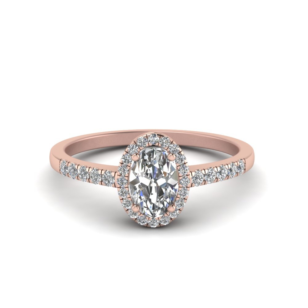 Oval Halo Diamond Delicate Ring