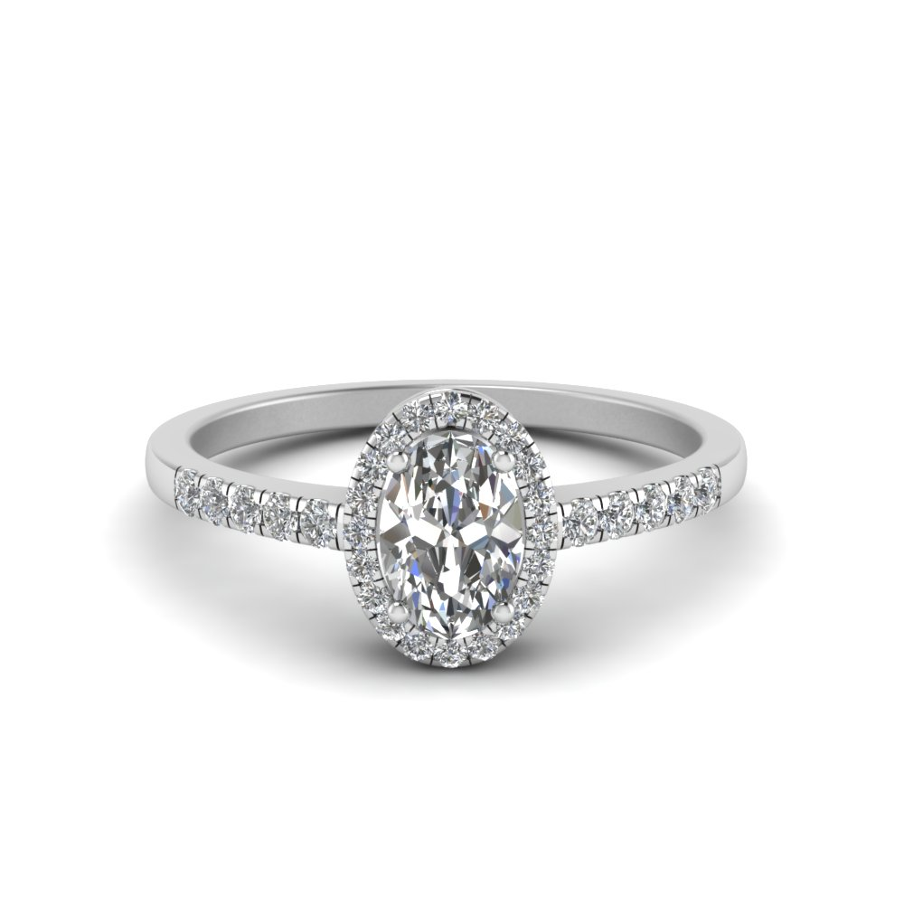 oval halo diamond delicate engagement ring in FDENR495OVR NL WG