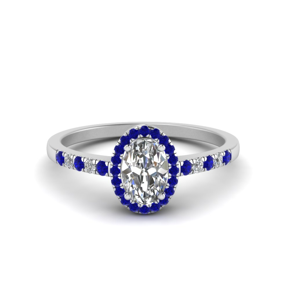 oval halo diamond delicate engagement ring with blue sapphire in FDENR495OVRGSABL NL WG